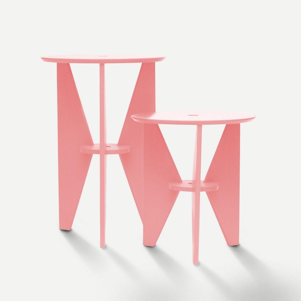 Mesa de Canto Rosa Conjunto 02 Peças em Laca Design Assinado Modelo Gira Caixotin