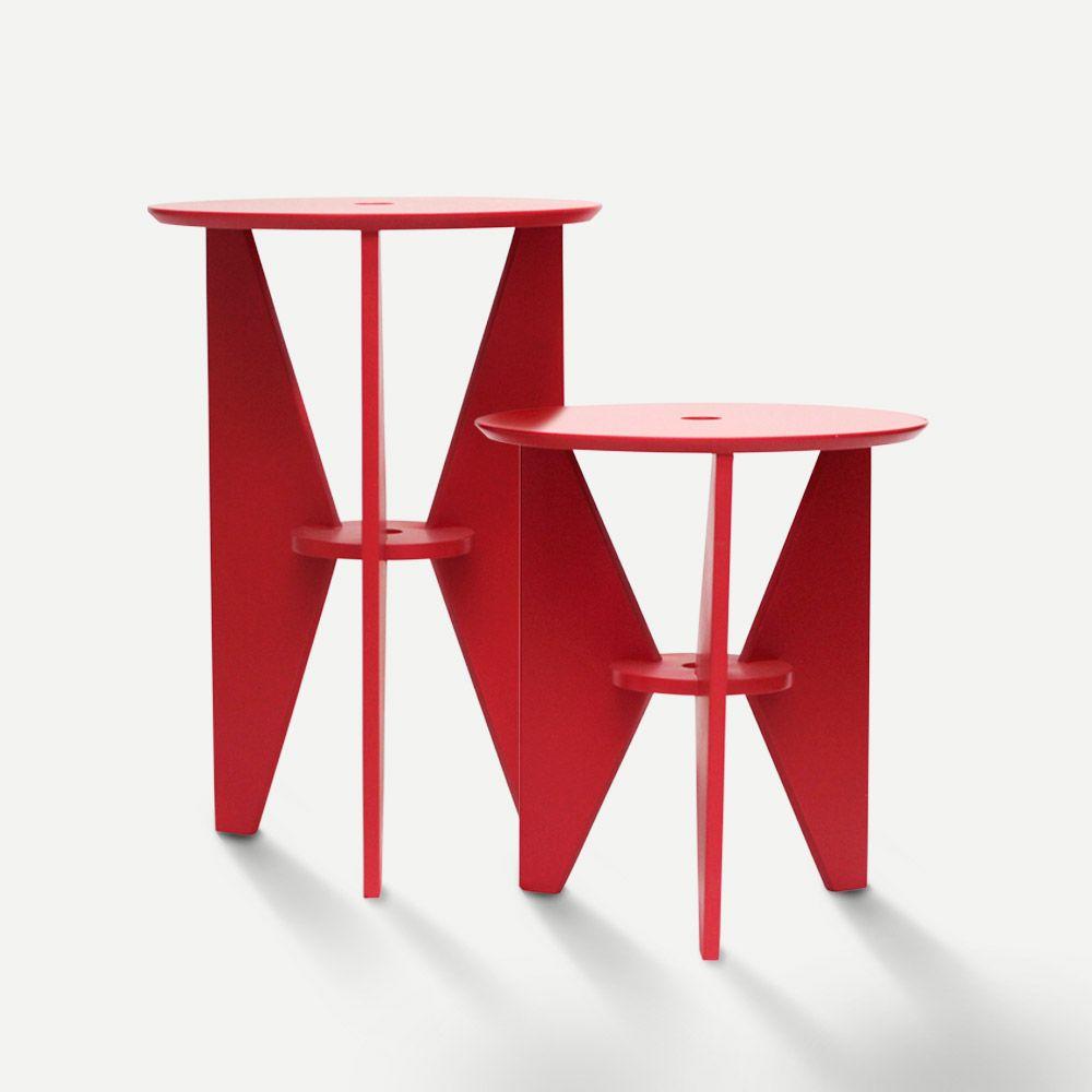 Mesa de Canto Vermelha Conjunto 02 Peças em Laca Design Assinado Modelo Gira Caixotin