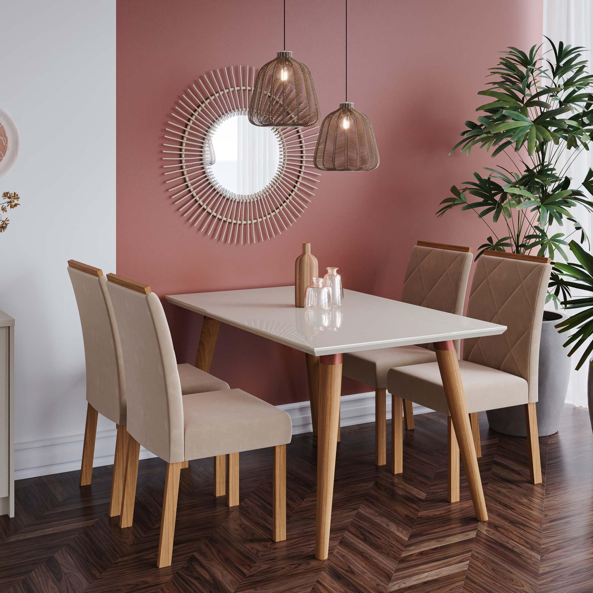 Mesa para Sala De Jantar Adele 130 x 80 cm e 4 Cadeiras Fernanda Cimol Madeira/Off White/Nude