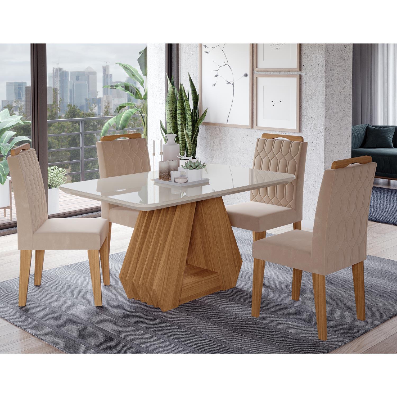 Mesa para Sala de Jantar Agata 130 x 80 cm e 4 Cadeiras Paola Cimol Nature/Off White/Nude