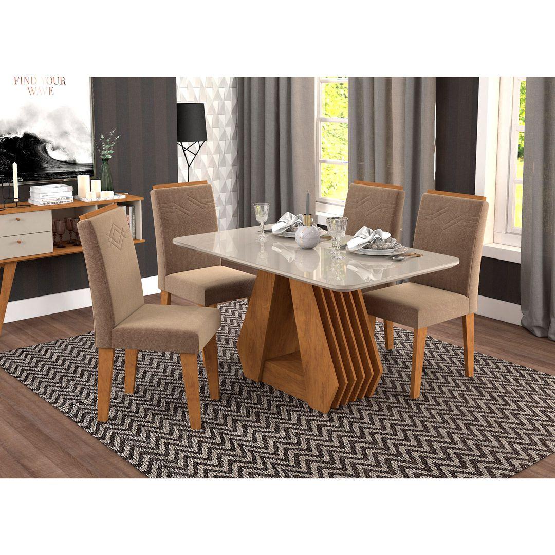 Mesa para Sala de Jantar Agata 130 x 80 cm e 4 Cadeiras Tais com Moldura Cimol  Savana/Off White/Pluma