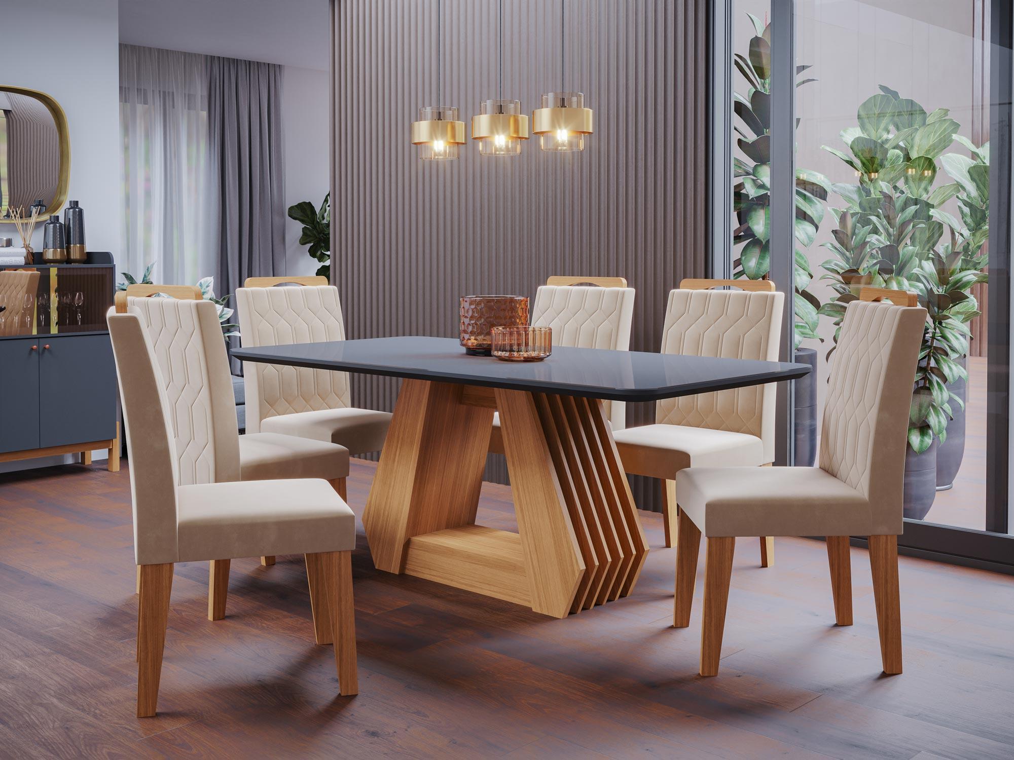 Mesa para Sala de Jantar Agata 180 x 90 cm e 6 Cadeiras Paola Cimol Nature/Chumbo/Nude