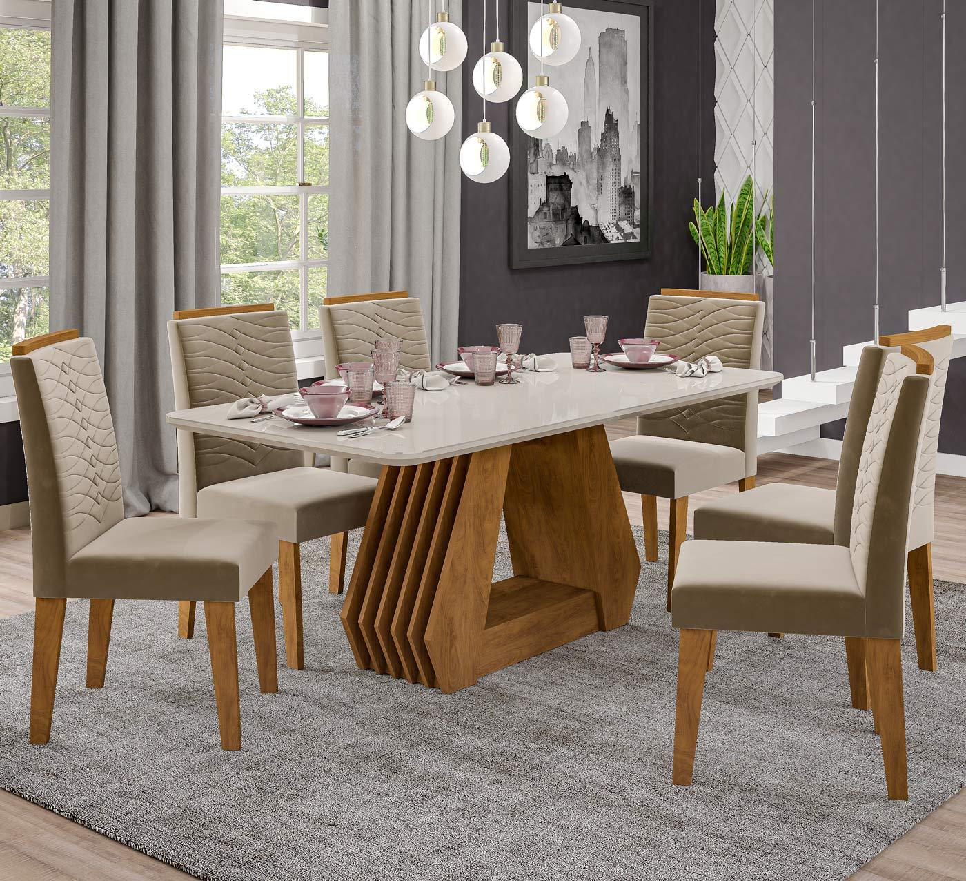 Mesa para Sala De Jantar Agata 180 x 90 cm e 6 Cadeiras Clarice Cimol Savana/Off White/Joli