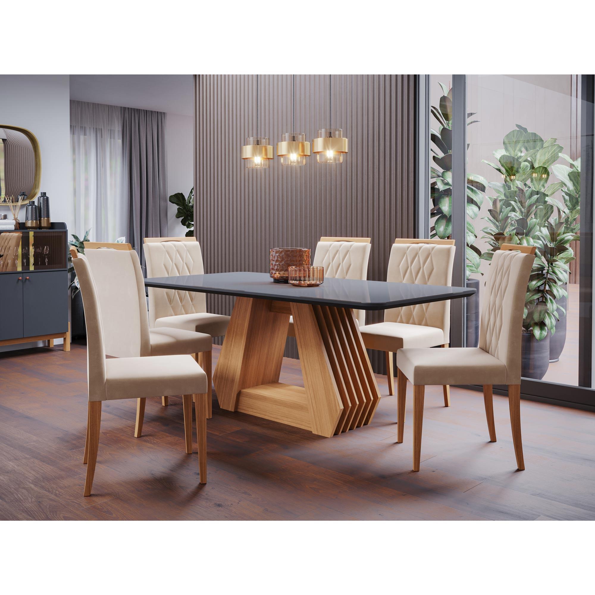 Mesa para Sala De Jantar Agata 180 x 90 cm e 6 Cadeiras Juliana Cimol Nature/Chumbo/Madeira/Joli