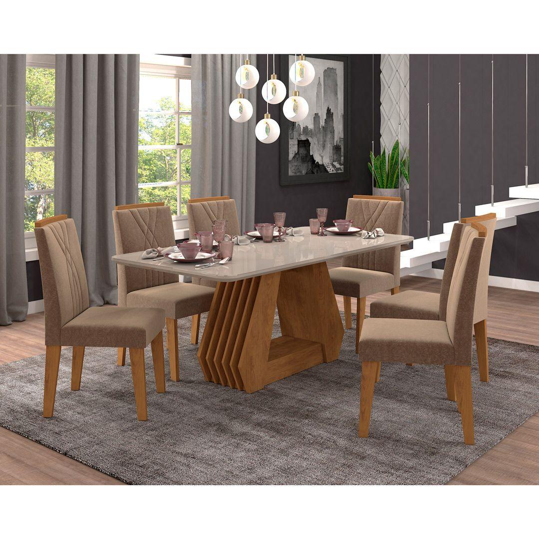 Mesa para Sala de Jantar Agata 180 x 90 cm e 6 Cadeiras Nicole Cimol Savana/Off White/Pluma