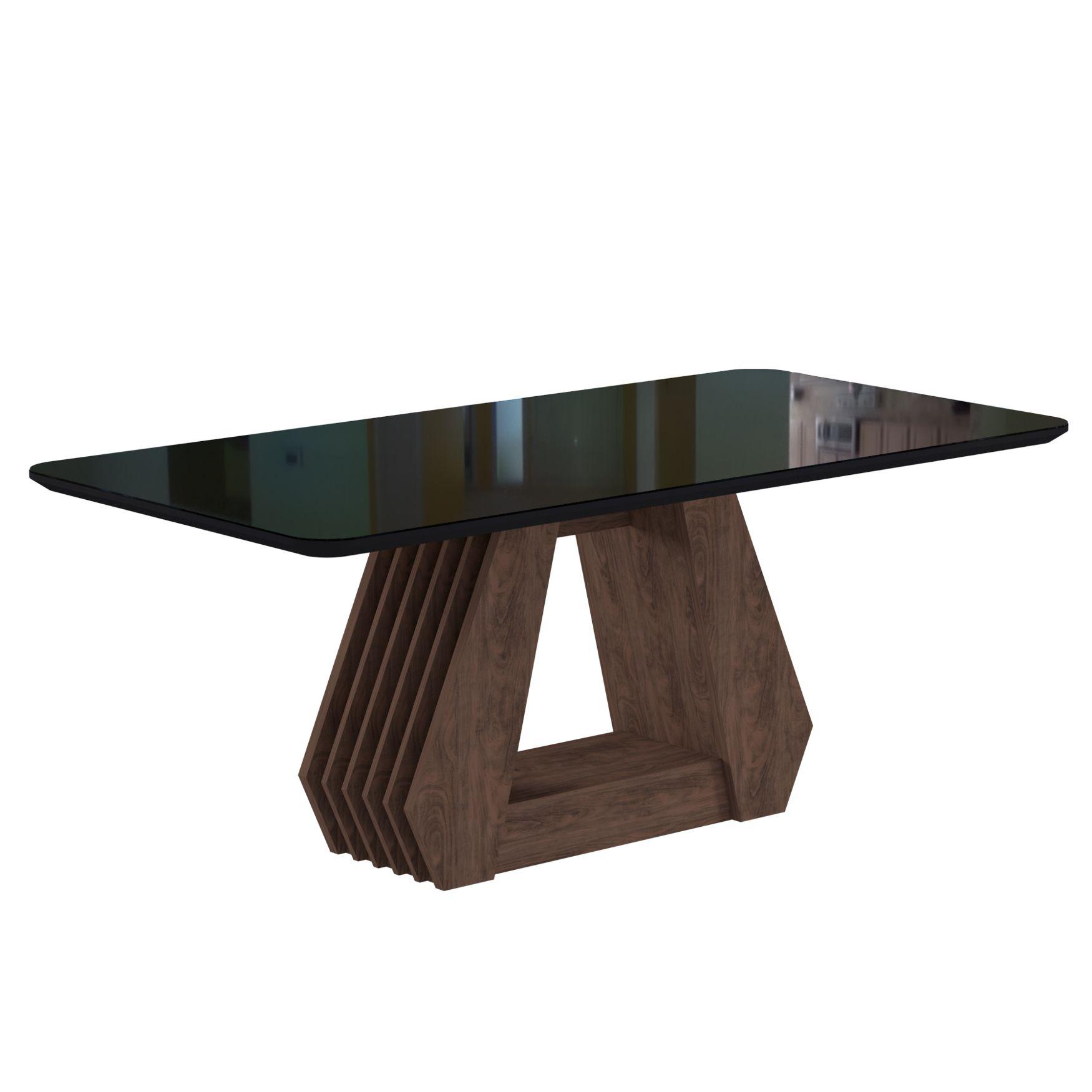 Mesa para Sala de Jantar Agata com tampo MDF/vidro 180 cm Cimol  Marrocos/Preto - FORA DE LINHA