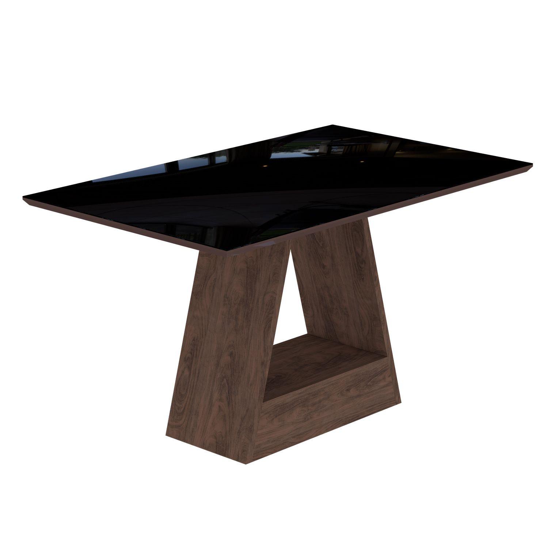 Mesa Para Sala de Jantar Alana 130 x 80 cm e 4 Cadeiras Lívia Cimol Marrocos/Preto/Suede Bege