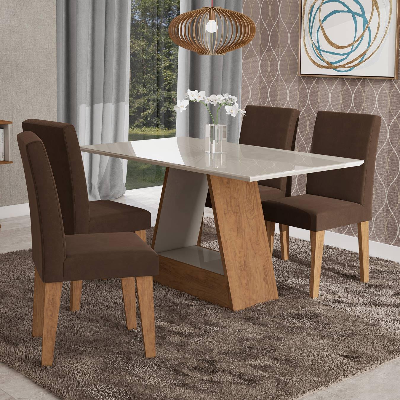 Mesa para Sala de Jantar Alana 130 x 80 cm e 4 Cadeiras Milena Cimol Savana/Off White/Chocolate