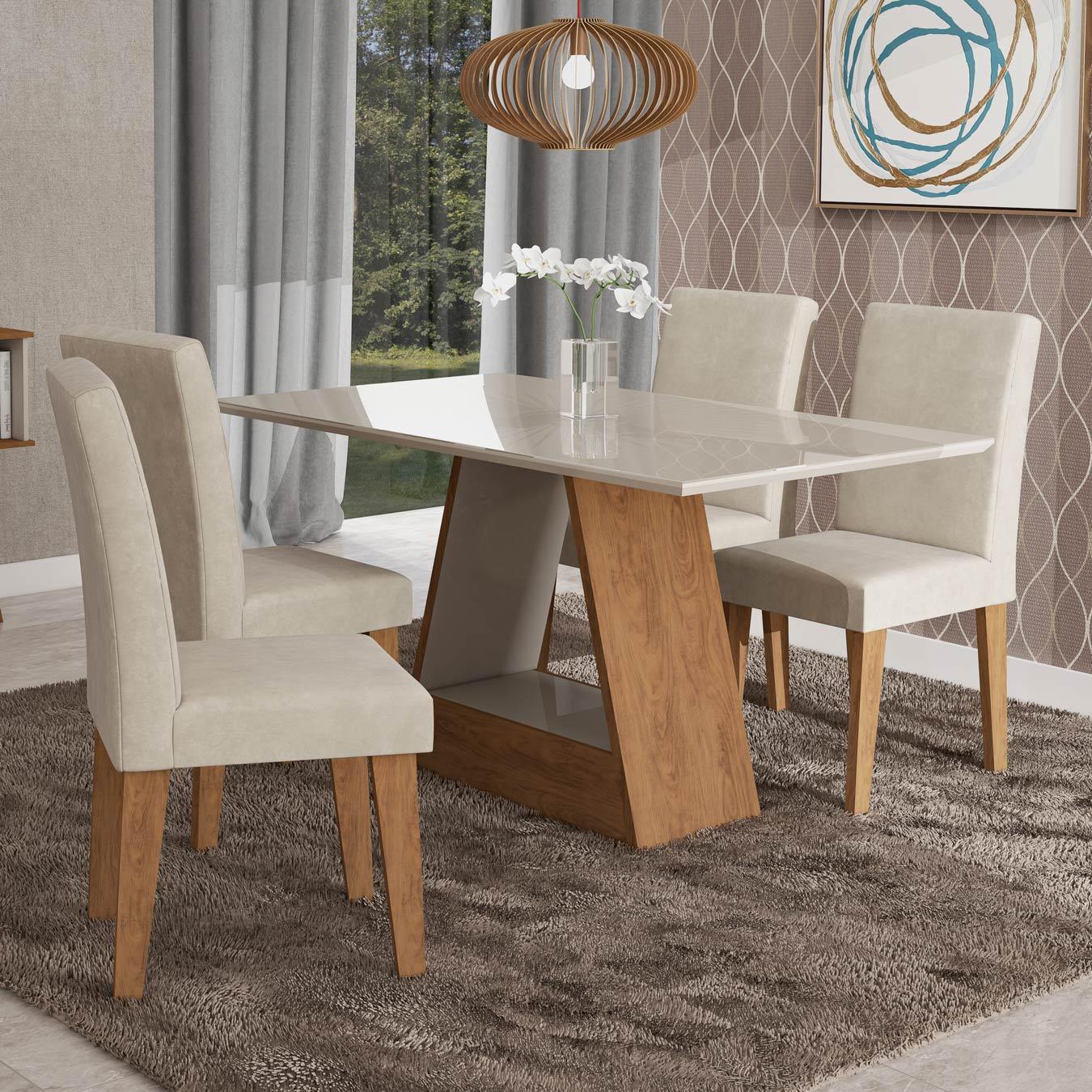 Mesa para Sala de Jantar Alana 130 x 80 cm e 4 Cadeiras Milena Cimol Savana/Off White/Bege