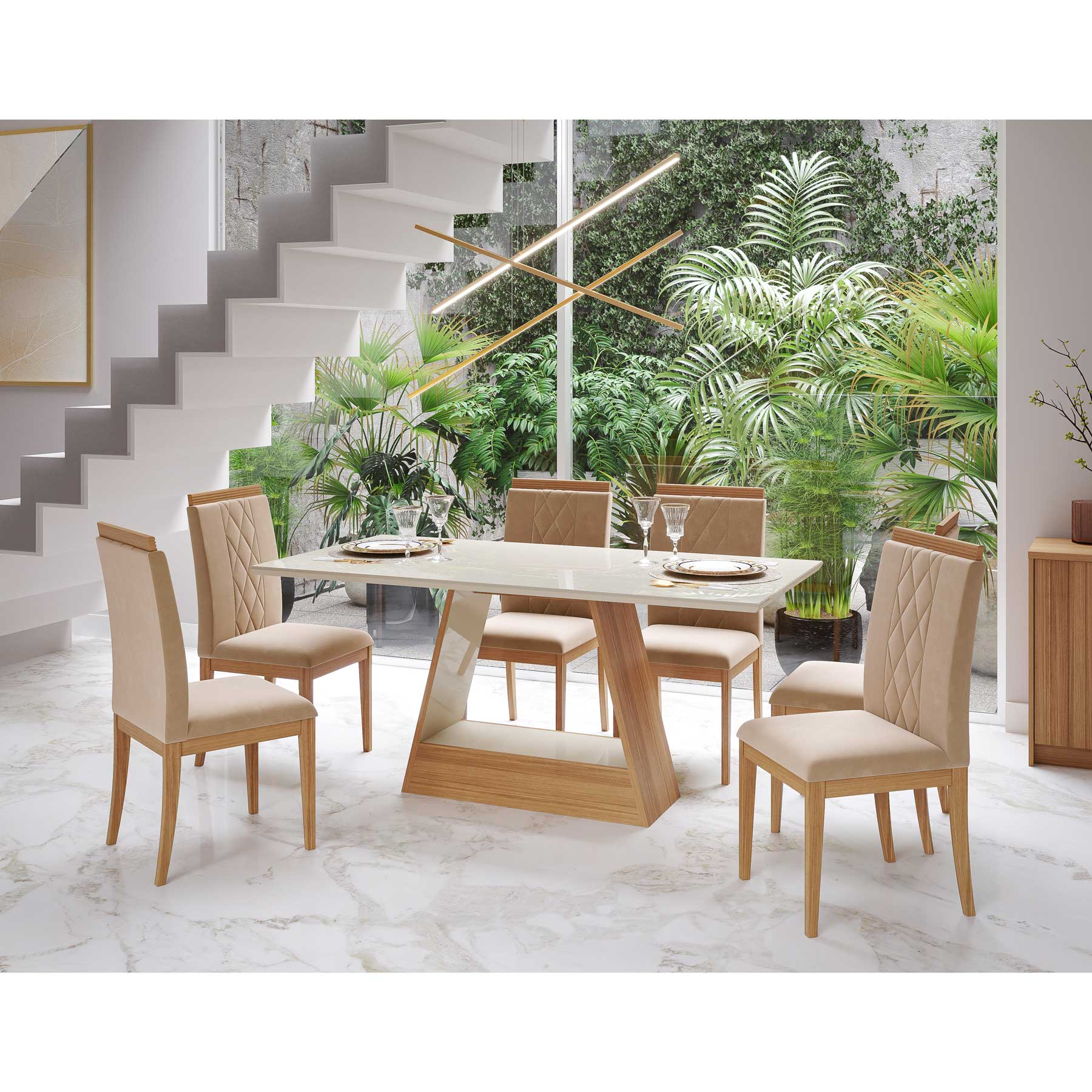 Mesa para Sala De Jantar Alana 180 x 90 cm e 6 Cadeiras Alice Cimol Nature/Offwhite/Madeira/Nude