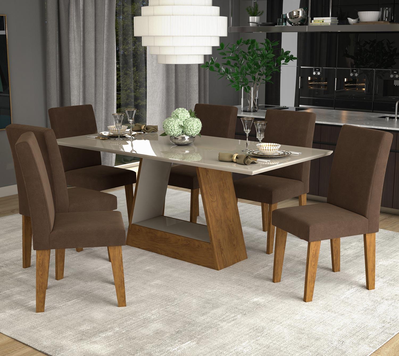 Mesa para Sala de Jantar Alana 180 x 90 cm e 6 Cadeiras Milena Cimol Savana/Off White/Chocolate