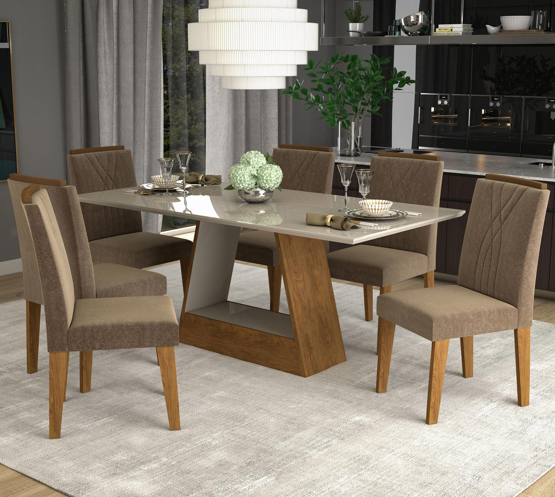 Mesa Para Sala de Jantar Alana 180 x 90 cm e 6 Cadeiras Nicole Cimol Savana/Off White/Pluma