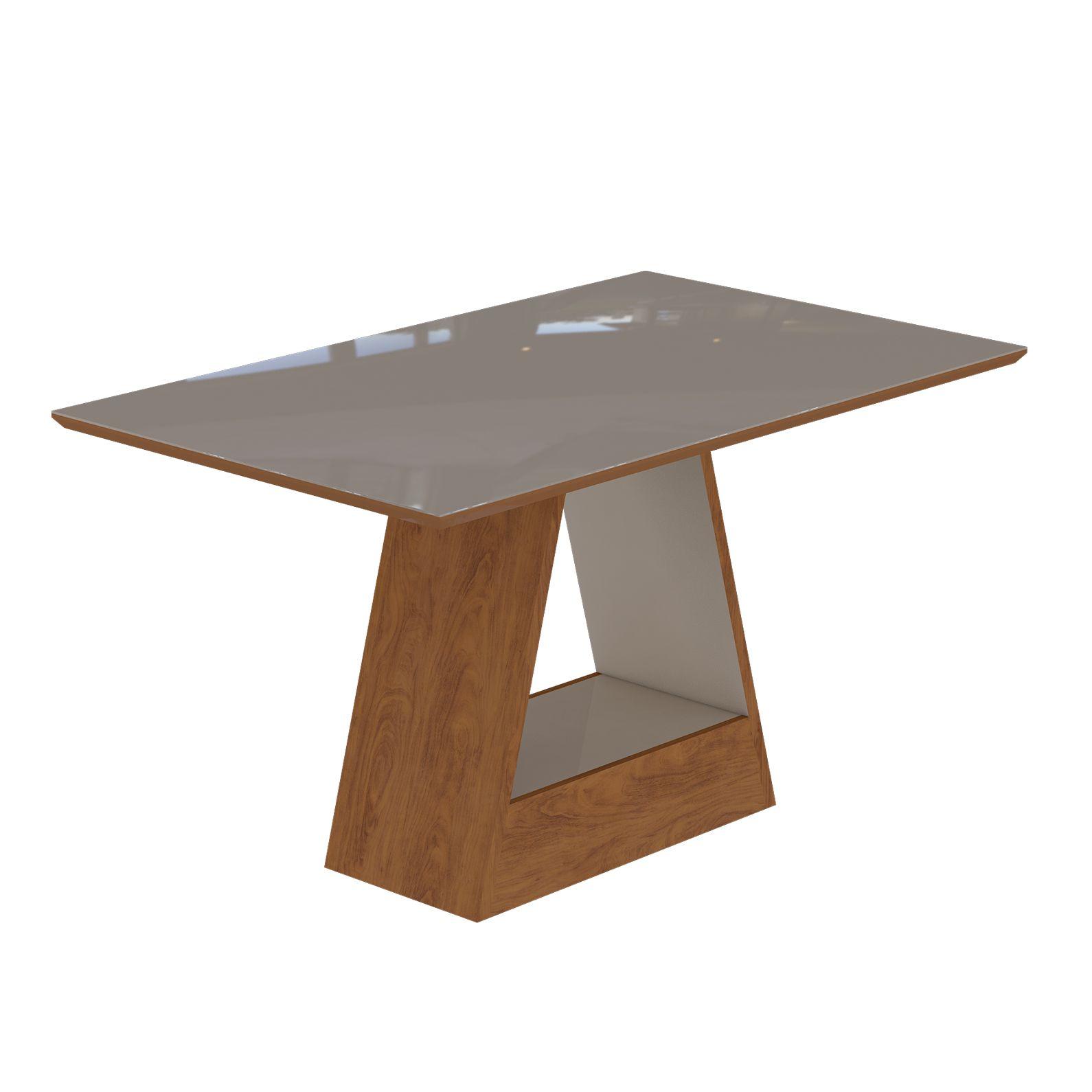 Mesa para Sala de Jantar Alana com tampo de MDF/vidro 130 cm Cimol Savana/Off White