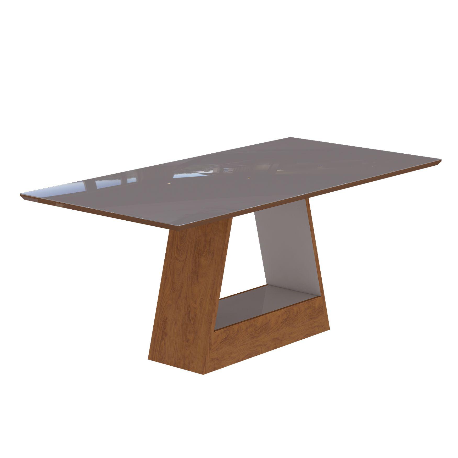 Mesa para Sala de Jantar Alana com tampo de MDF/vidro 180 cm Cimol Savana/Off White