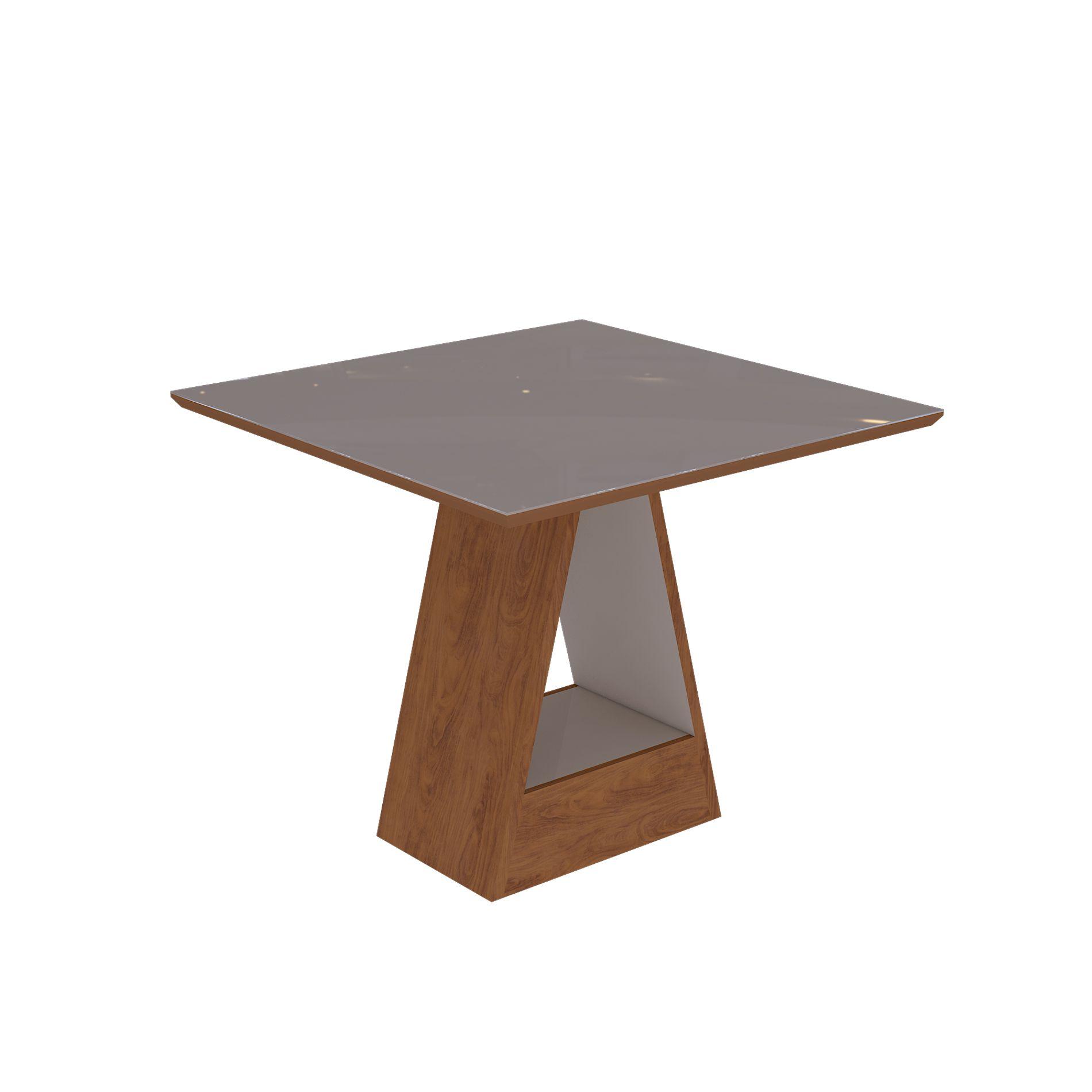 Mesa para Sala de Jantar Alana com tampo de MDF/vidro 95 cm Cimol Savana/Off White