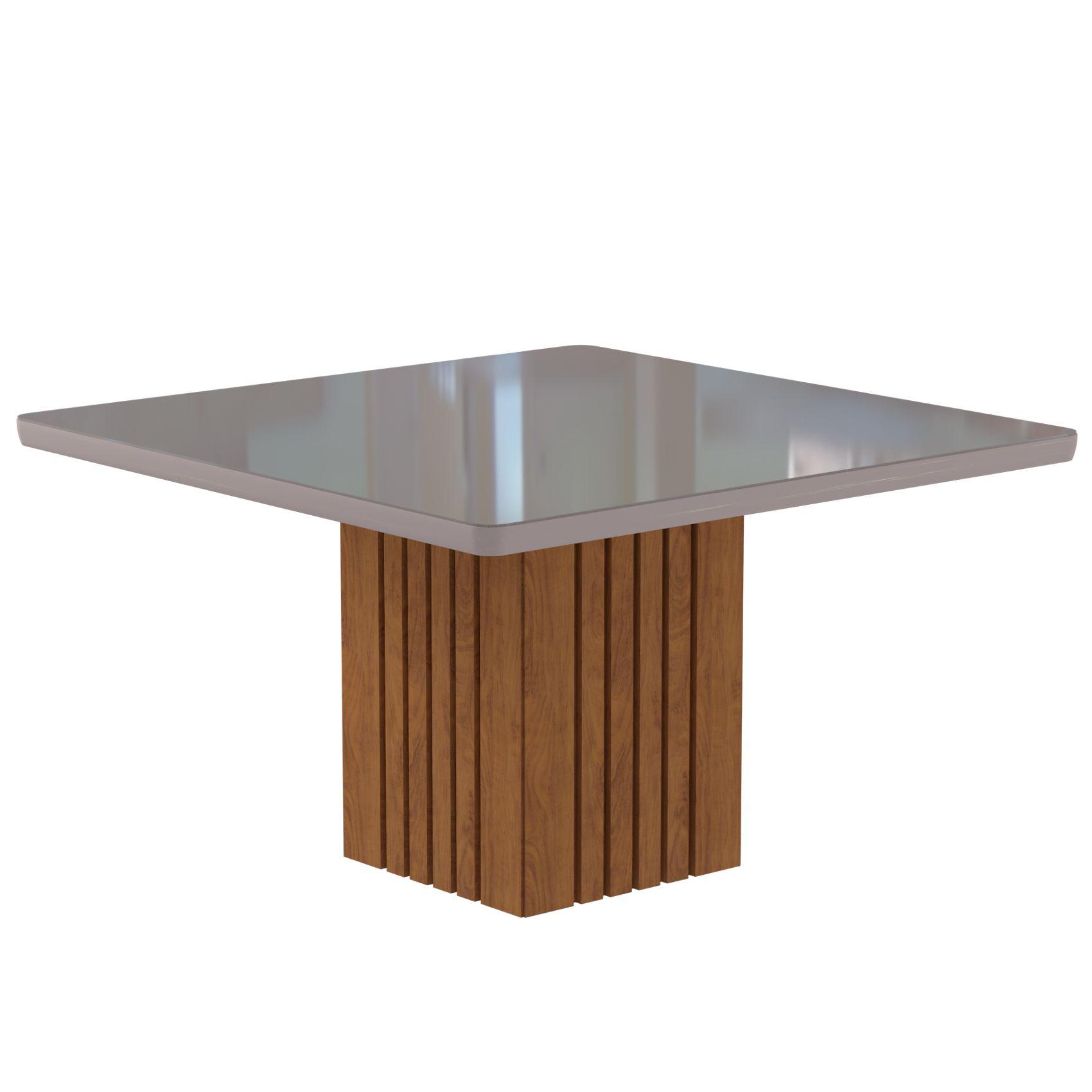 Mesa para Sala de Jantar Ana 130 x 130 cm e 8 Cadeiras Nicole Cimol Savana/Off White/Pluma