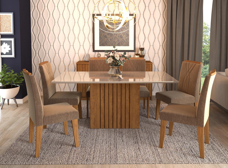 Mesa para Sala de Jantar Ana 180 x 90 cm e 6 Cadeiras Nicole Cimol Savana/Off White/Pluma