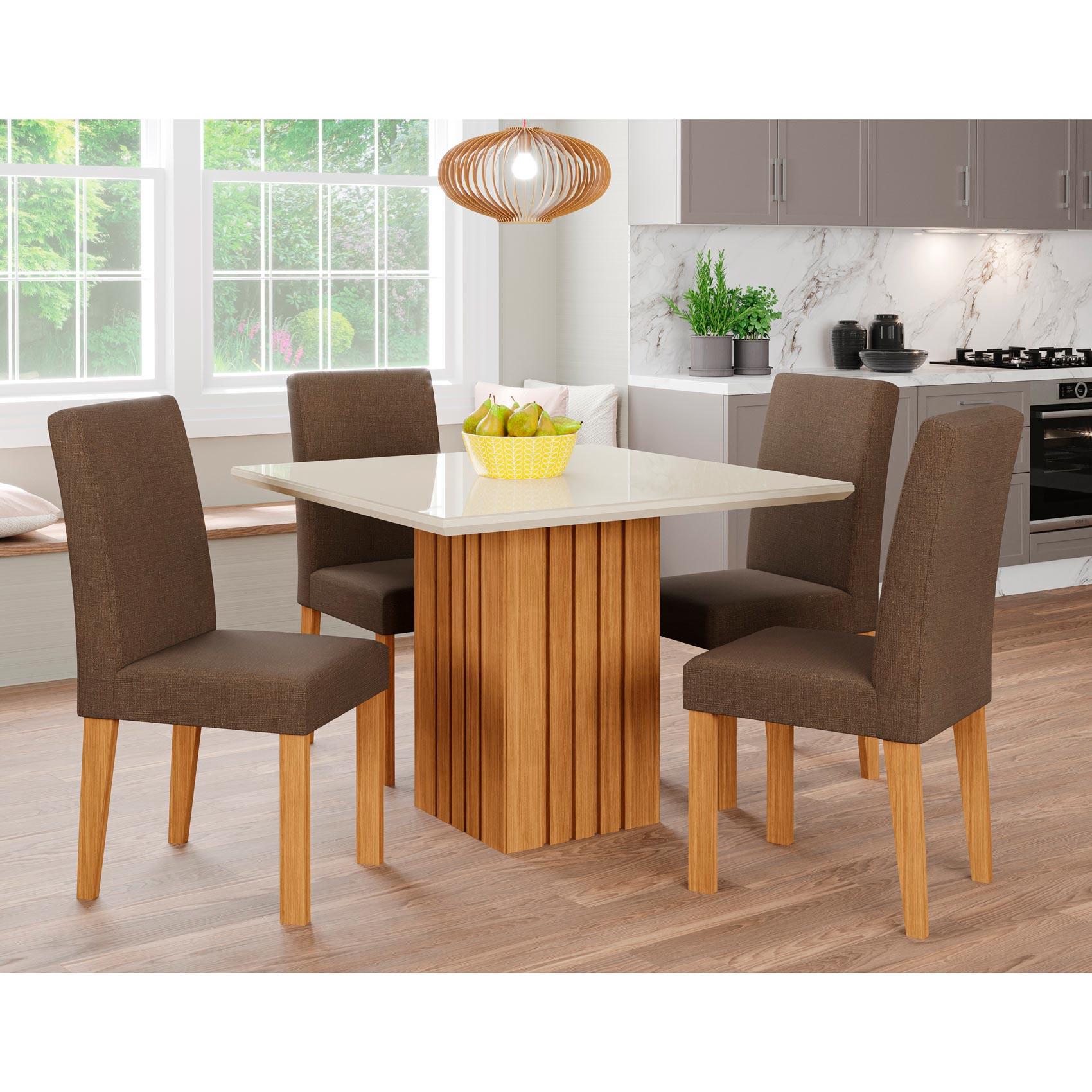 Mesa para Sala De Jantar Ana 95 cm  e 4 Cadeiras Maia Cimol Nature/Offwhite/Mascavo