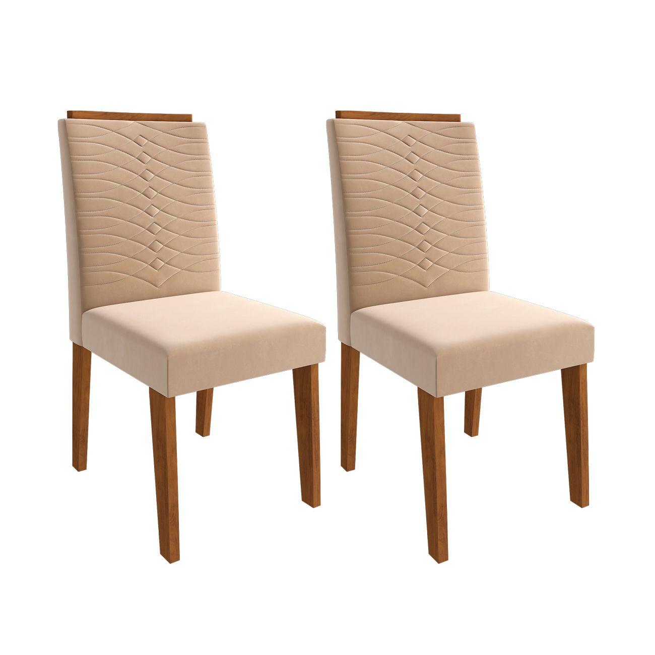 Mesa para Sala de Jantar Clara 180 x 80 cm e  com 6 Cadeiras  Clarice Savana/Off White/Nude