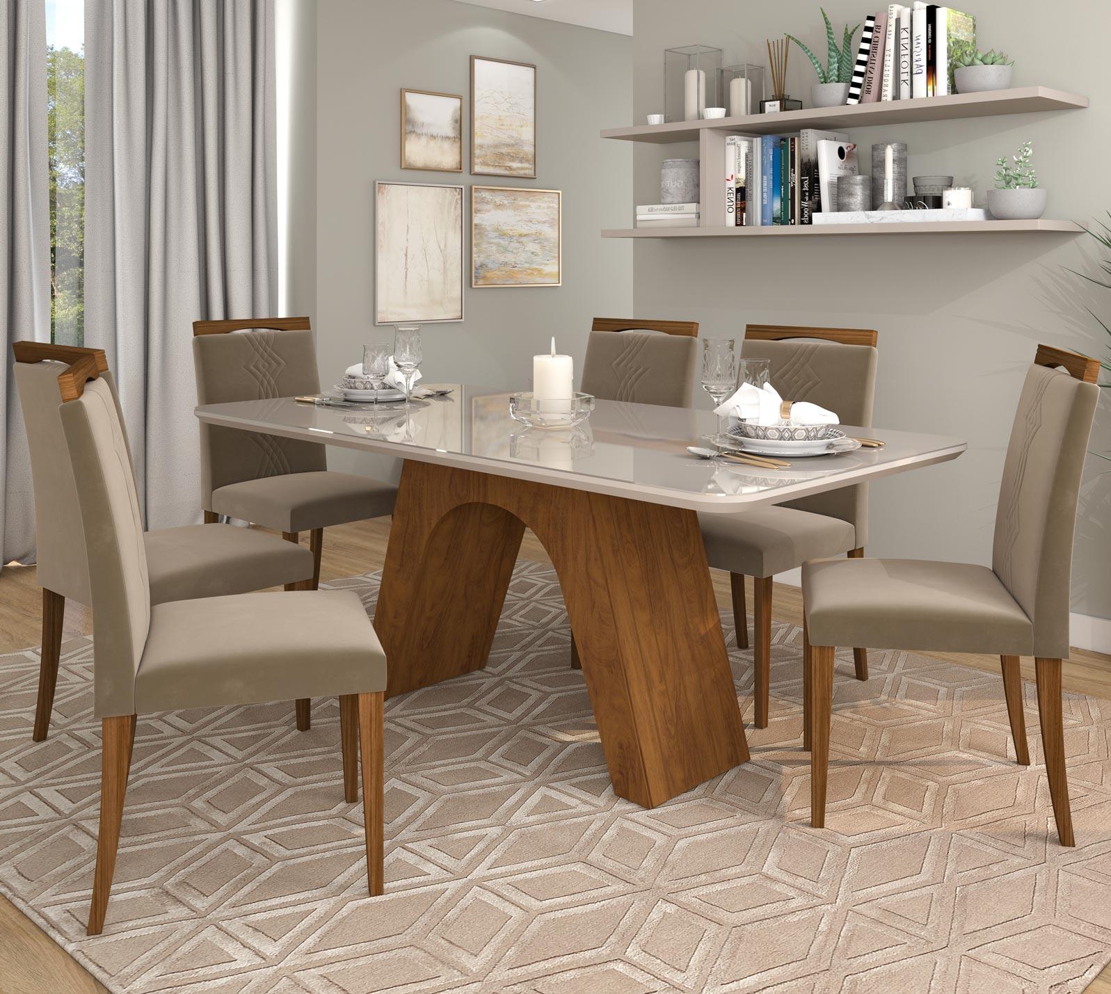Mesa para Sala de Jantar Clara 180 x 80 cm e  com 6 Cadeiras  Laura Savana/Off White/Madeira/Joli