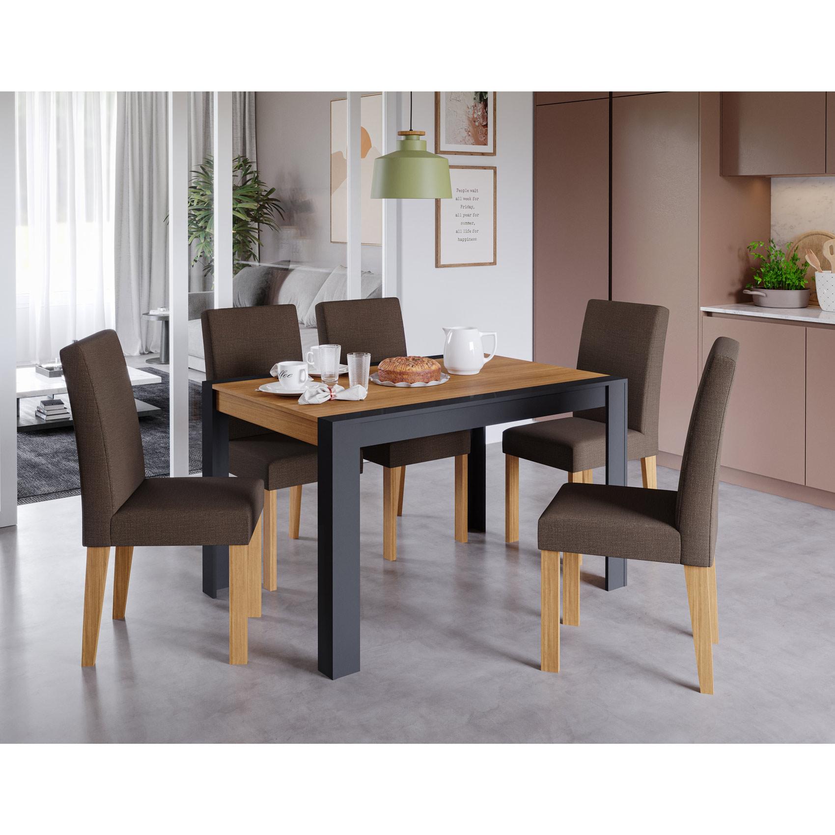 Mesa para Sala de Jantar Grace 130 x 90 cm 100% MDF e 6 Cadeiras Maia Cimol Chumbo/Nature/Mascavo