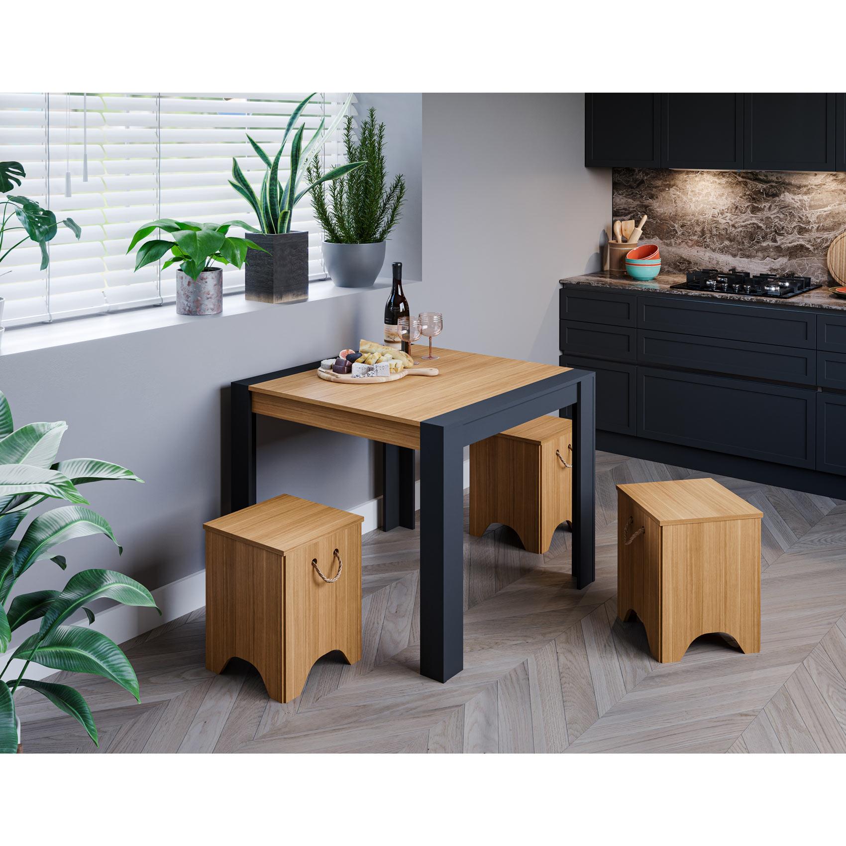 Mesa para Sala de Jantar Grace 90 x 90 cm 100% MDF e 4 Bancos Kim Cimol Chumbo/Nature