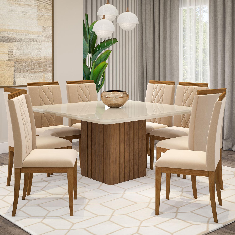 Mesa para Sala de Jantar Helen 180 x 80 cm e  com 6 Cadeiras Clarice Savana/Off White/Nude