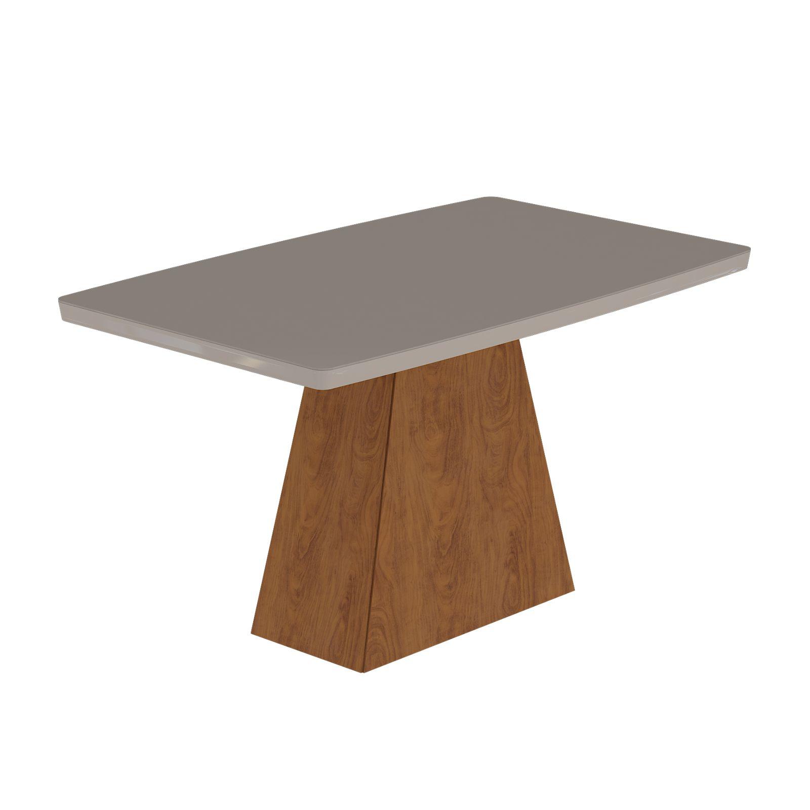Mesa para Sala de Jantar Helen com tampo de MDF/vidro 130 x 80 cm Cimol Savana/Off White