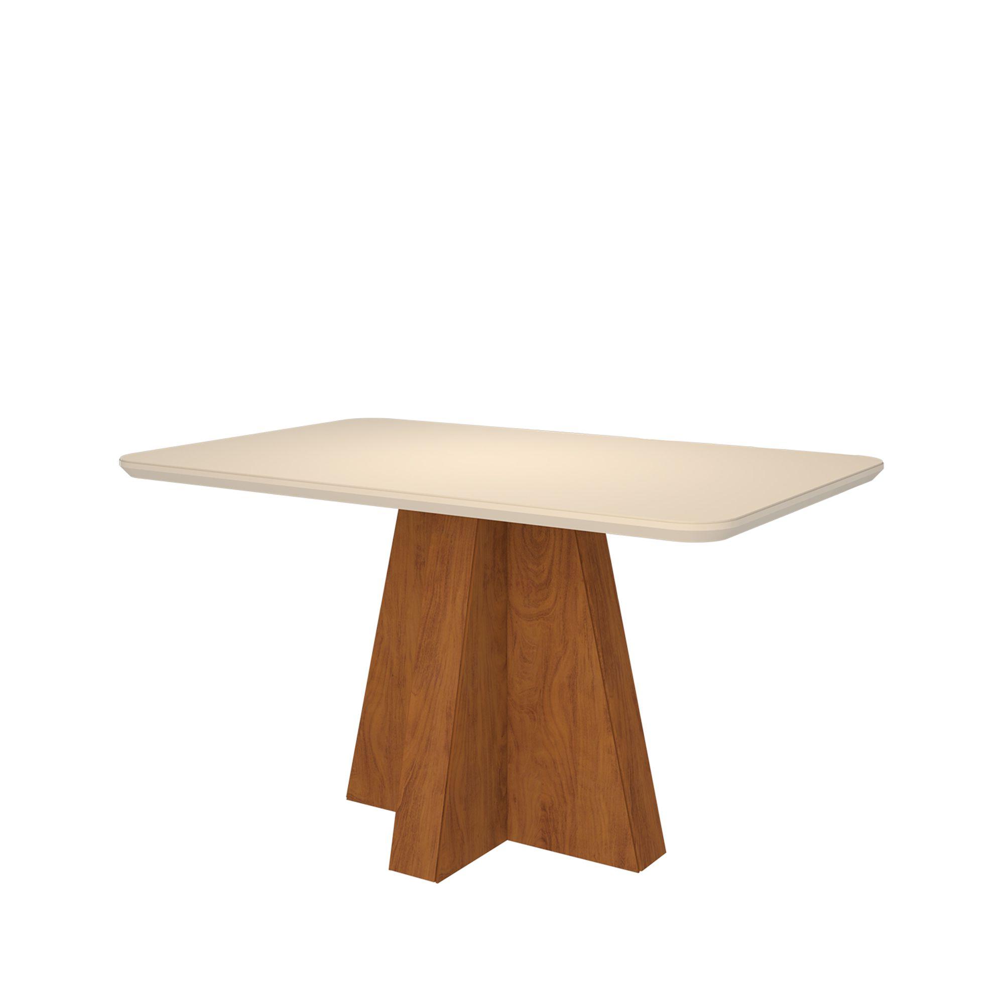 Mesa para Sala de Jantar Maitê 130 x 80 cm e 4 Cadeiras  Paola Savana/Off White/Nude