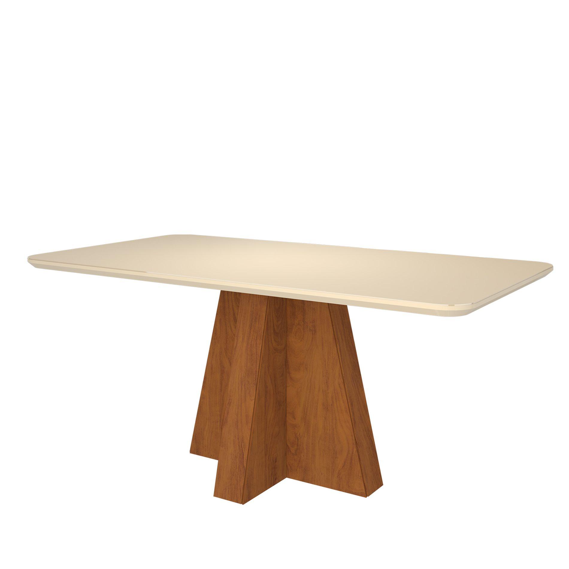 Mesa para Sala de Jantar Maite 160 x 80 cm e 6 Cadeiras Nicole Cimol Savana/Off White/Pluma