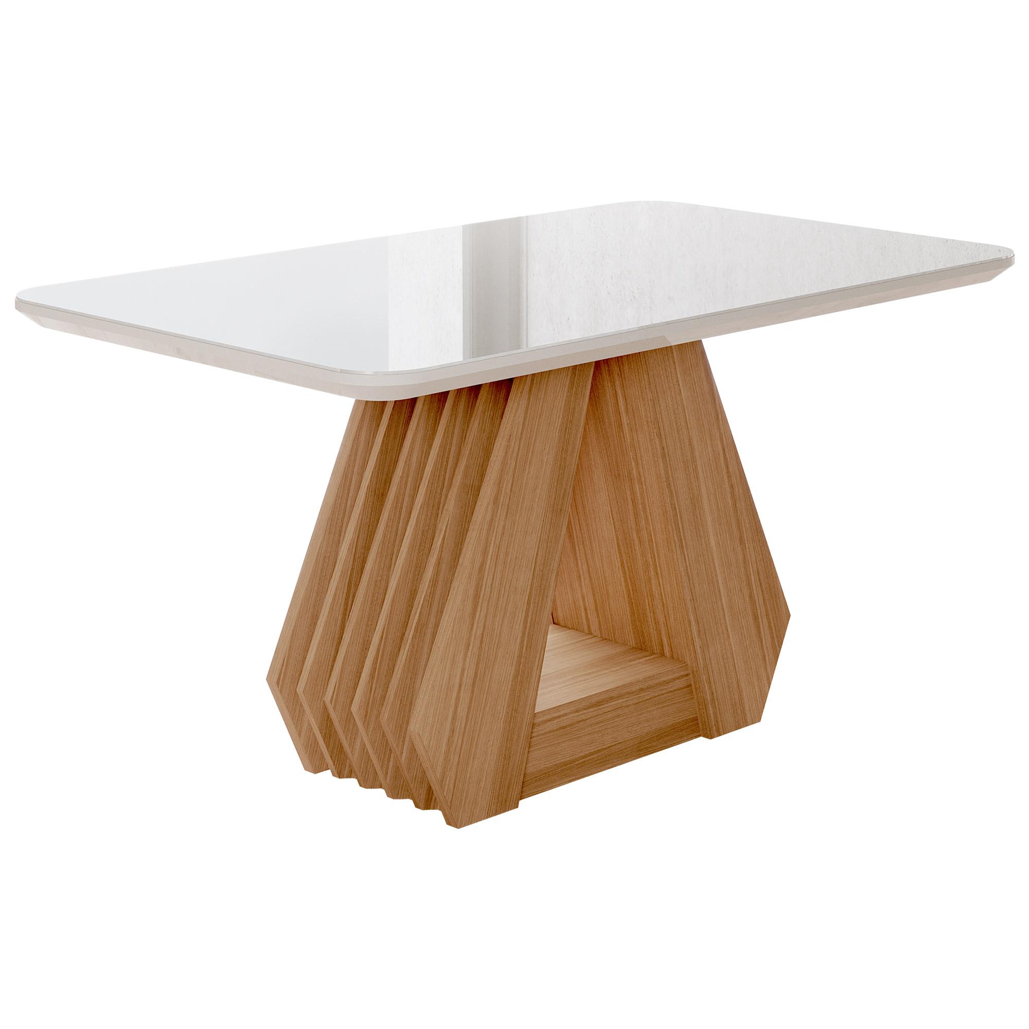 Mesa para Sala de Jantar Agata 130 x 80 cm com Tampo MDF/Vidro Cimol Nature/Off White