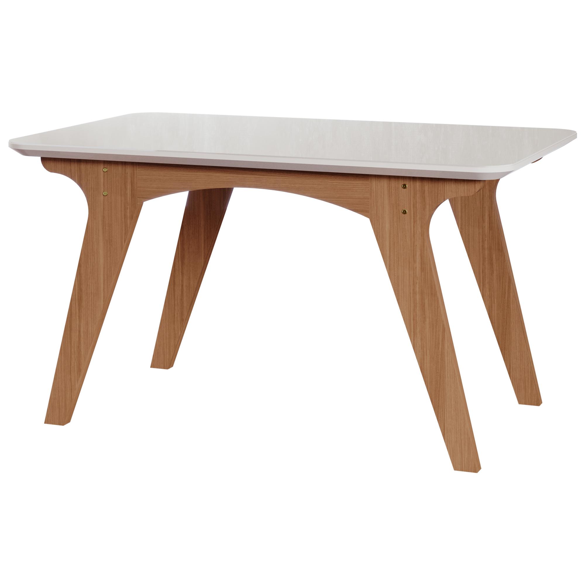 Mesa para Sala de Jantar Mesa Selena 130 cm Vidro/Mdf Cimol Nature/Offwhite