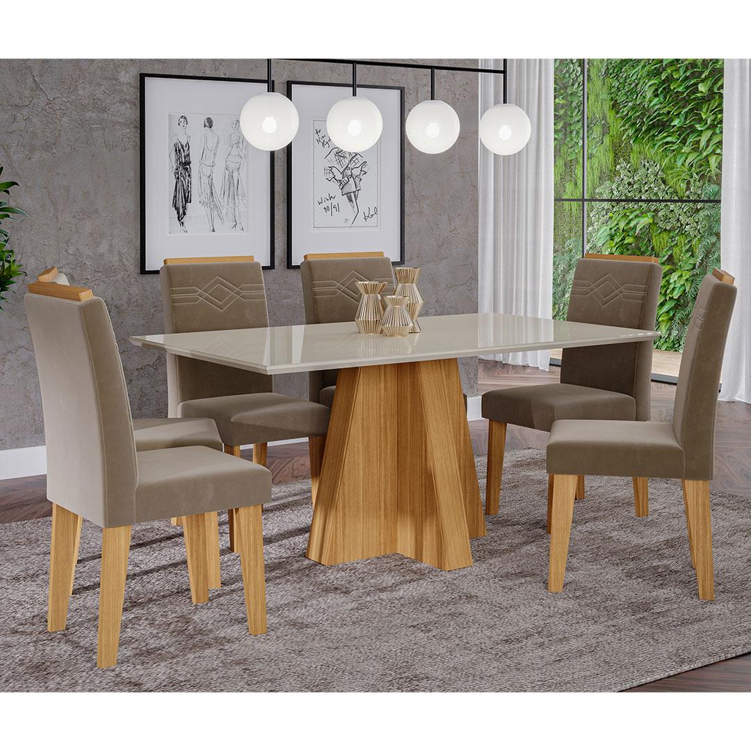 Mesa para Sala de Jantar Patricia 160 x 80 cm e 6 Cadeiras Tais Cimol Nature/Off White/Joli