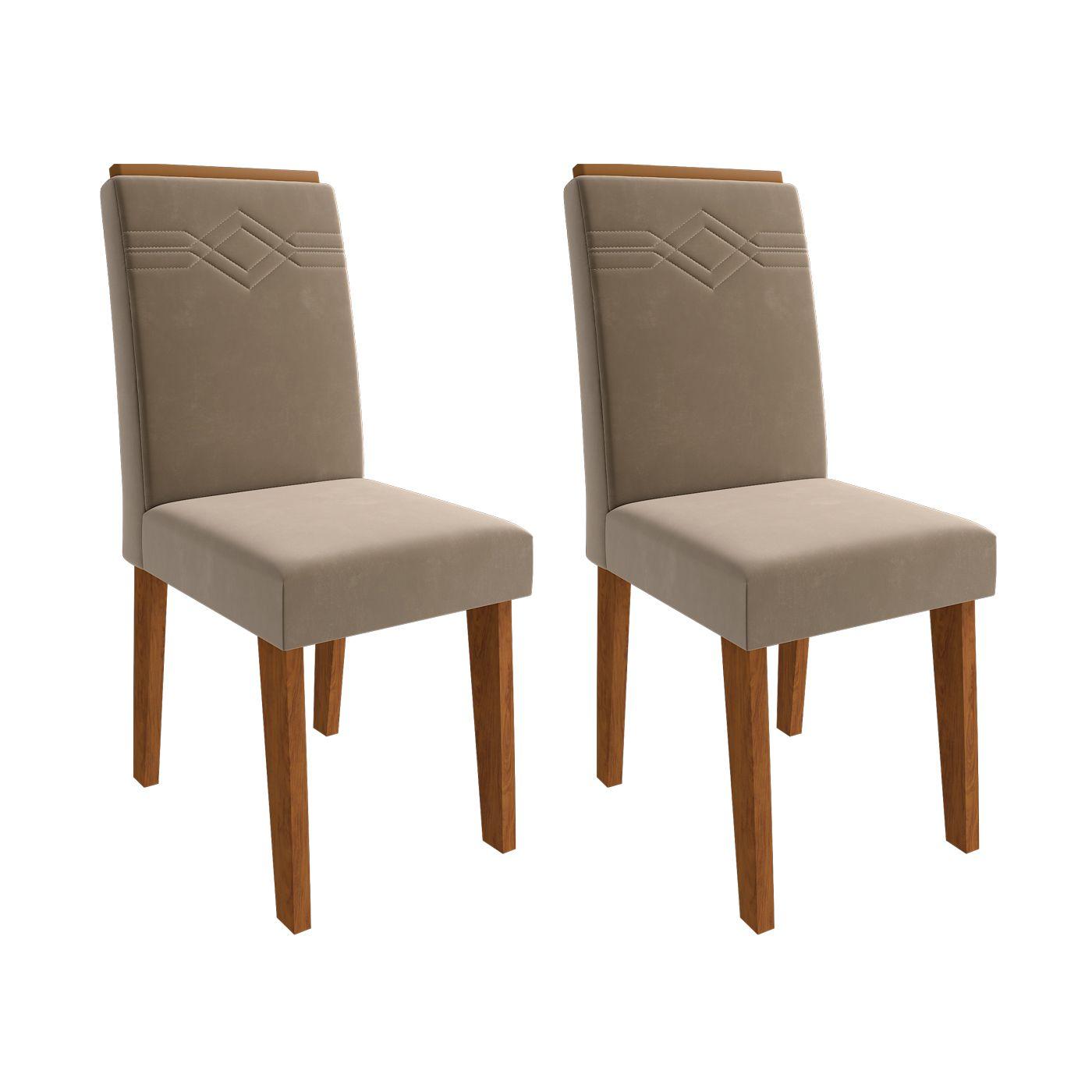 Mesa para Sala de Jantar Patricia 1,60 e 6 Cadeiras  Tais comMoldura Savana/Off White/Joli