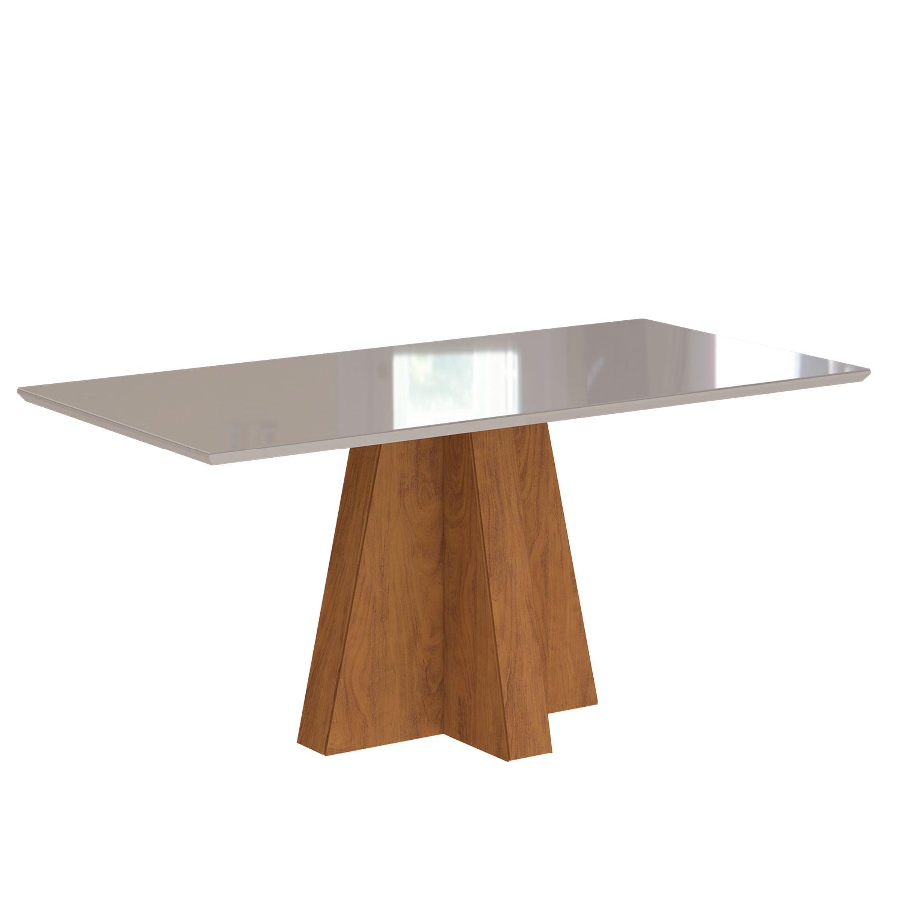 Mesa para Sala de Jantar Patricia com tampo de MDF/Vidro 130 cm Cimol Savana/Off White