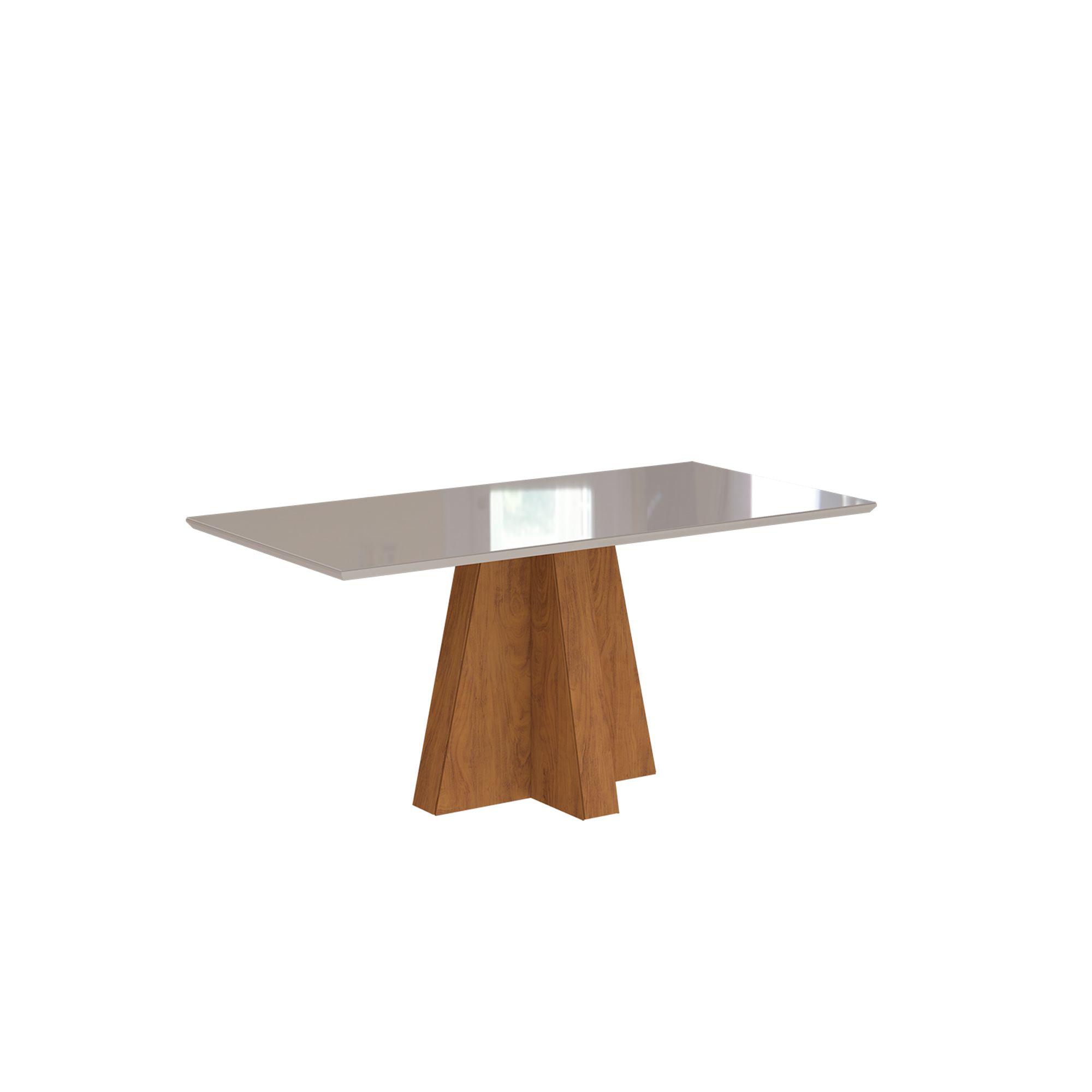 Mesa para Sala de Jantar Patricia com tampo de MDF/Vidro 1,60 cm Cimol Savana/Off White