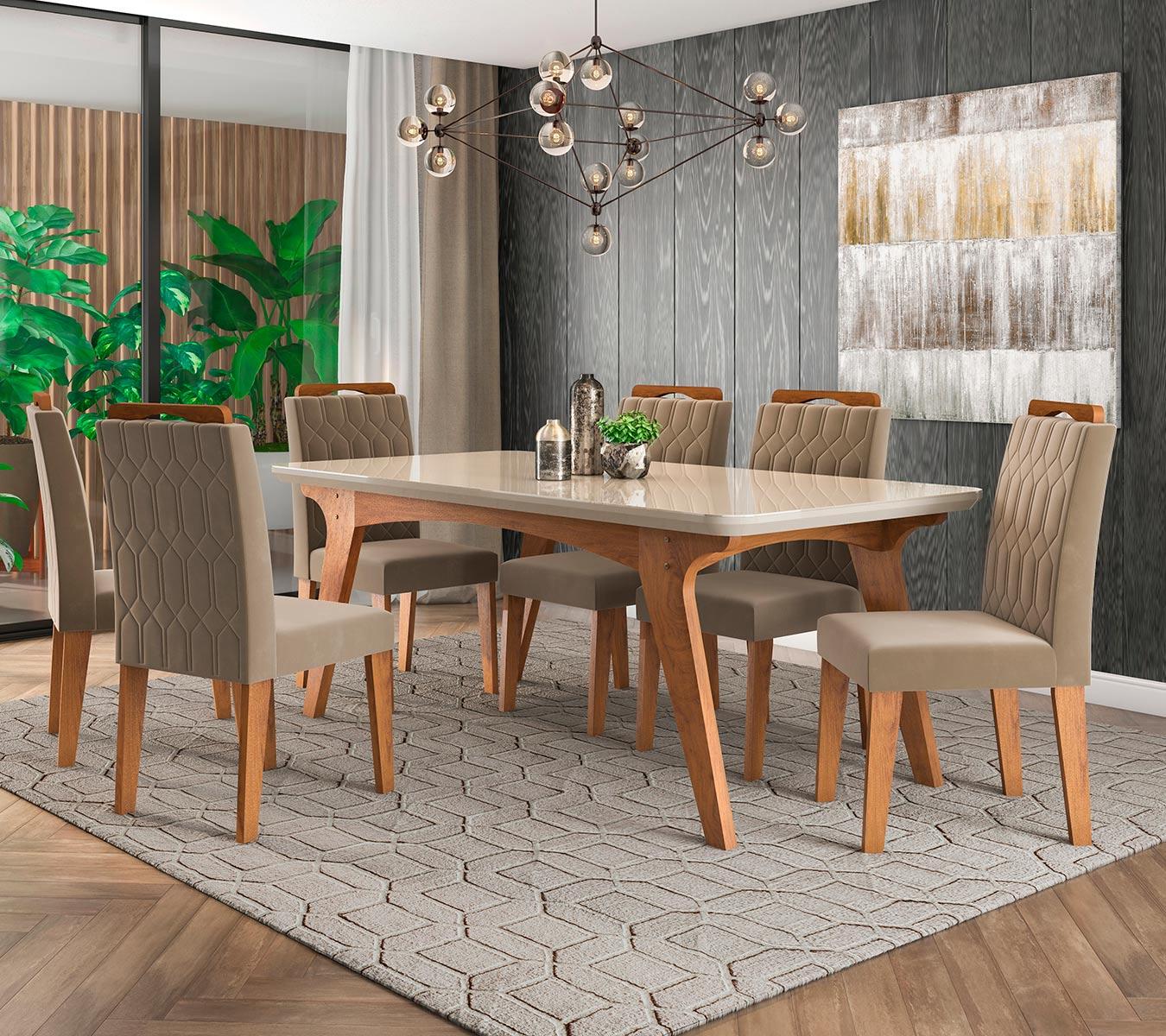 Mesa para Sala de Jantar Selena 180 x 90 cm e 6 Cadeiras  Paola Savana/Off White/Joli