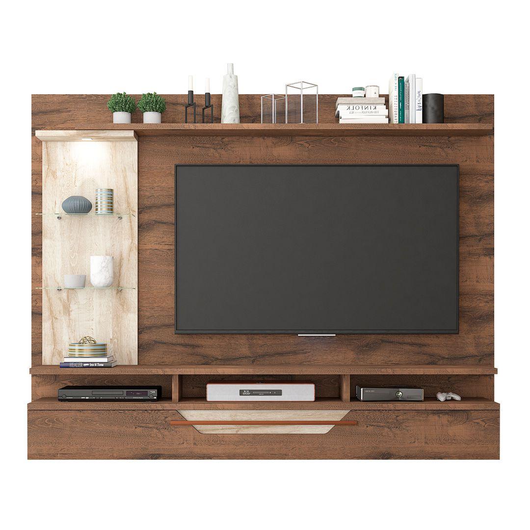Painel para TV até 60 Polegadas com LED 1 Porta Londres Permobili Café-Rústico