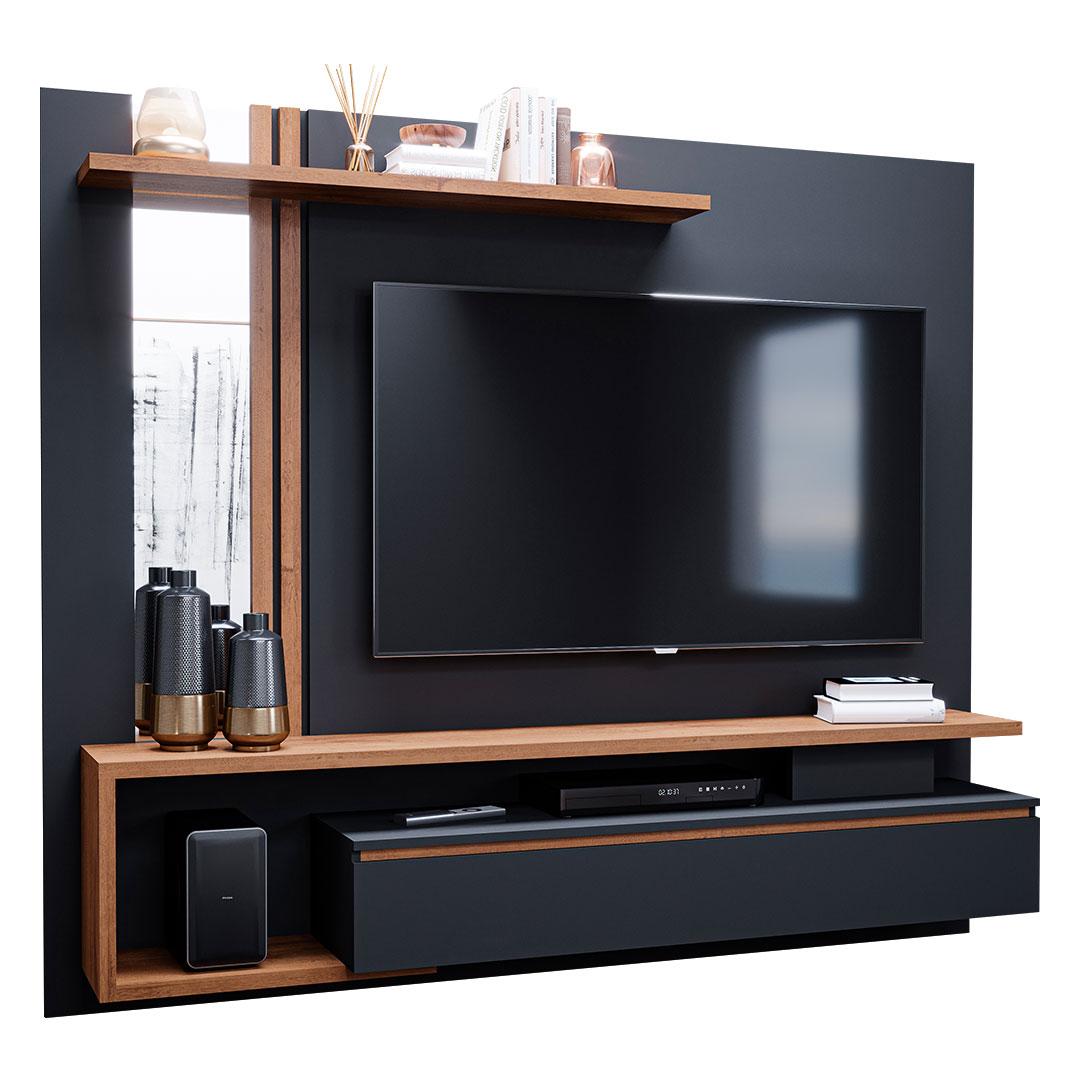 Painel para TV até 60 Polegadas Treviso 100% MDF com 1 Porta Permóbili Chumbo/Savana