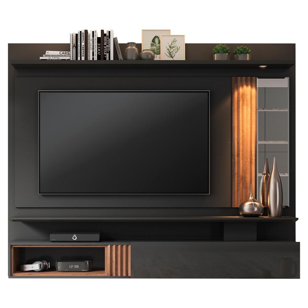 Painel para TV até 65 Polegadas 100% MDF Riviera com 1 Porta e Espelho Permóbili Chumbo/Savana