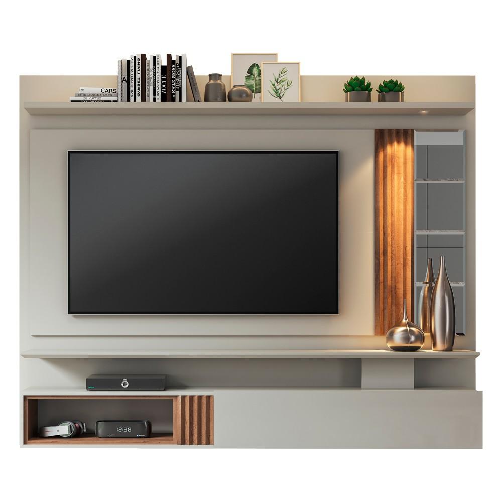 Painel para TV até 65 Polegadas 100% MDF Riviera com 1 Porta e Espelho Permóbili Off White/Savana