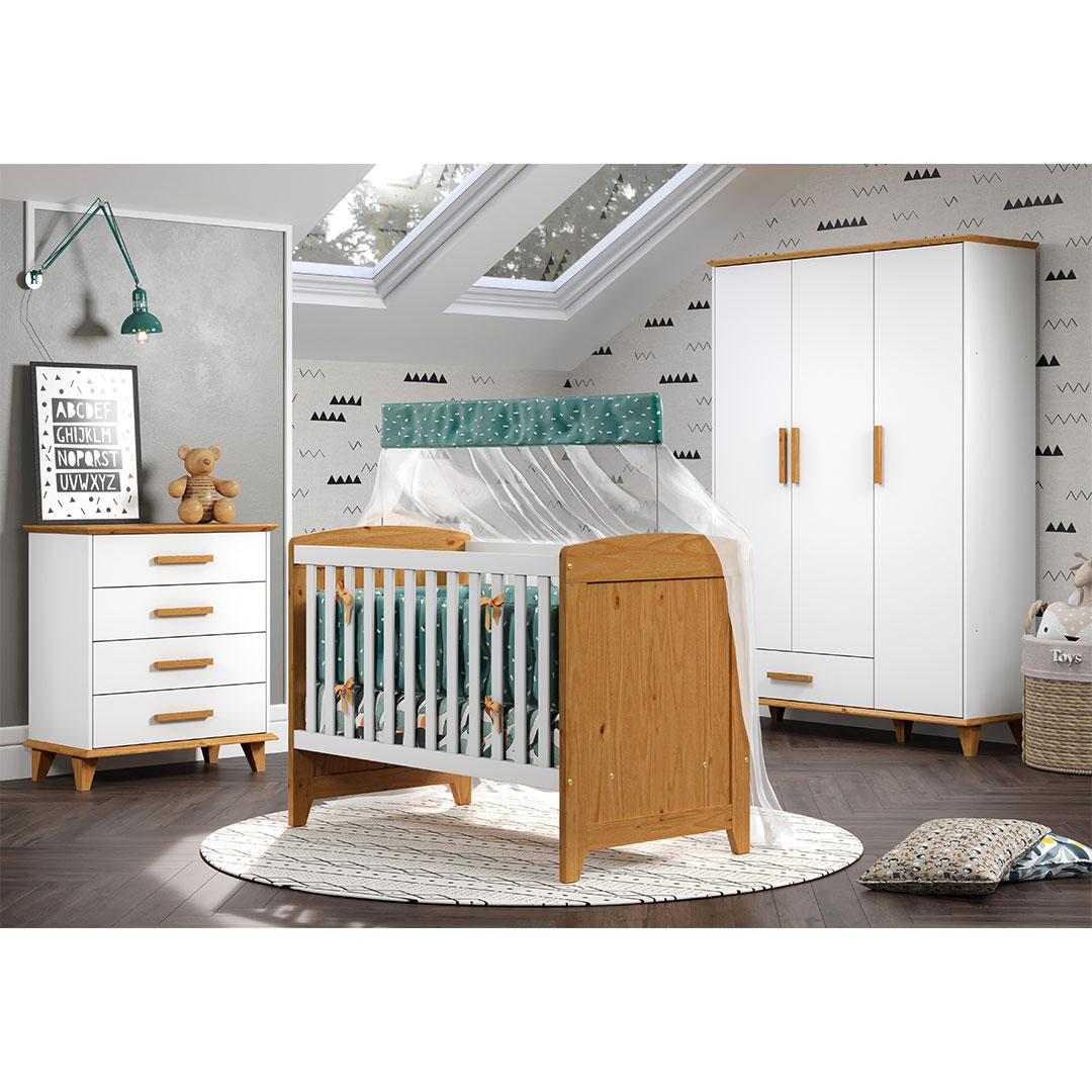 Quarto Bebê Candy com Berço Cômoda 4 Gavetas e Guarda Roupa 3 Portas Móveis Serpil Branco com Imbuia
