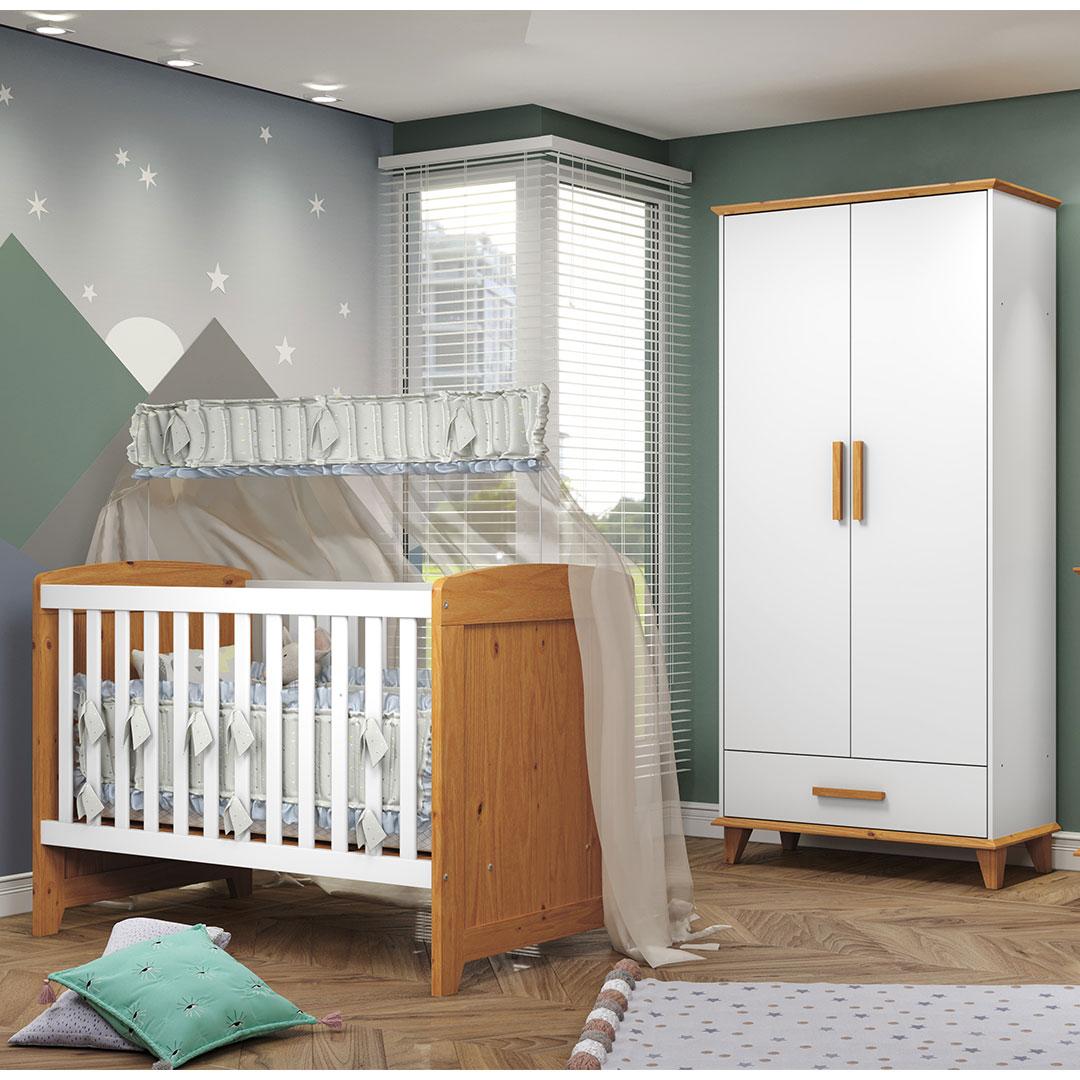 Quarto Bebê Candy com Berço e Guarda Roupa 2 Portas Móveis Serpil Branco com Imbuia