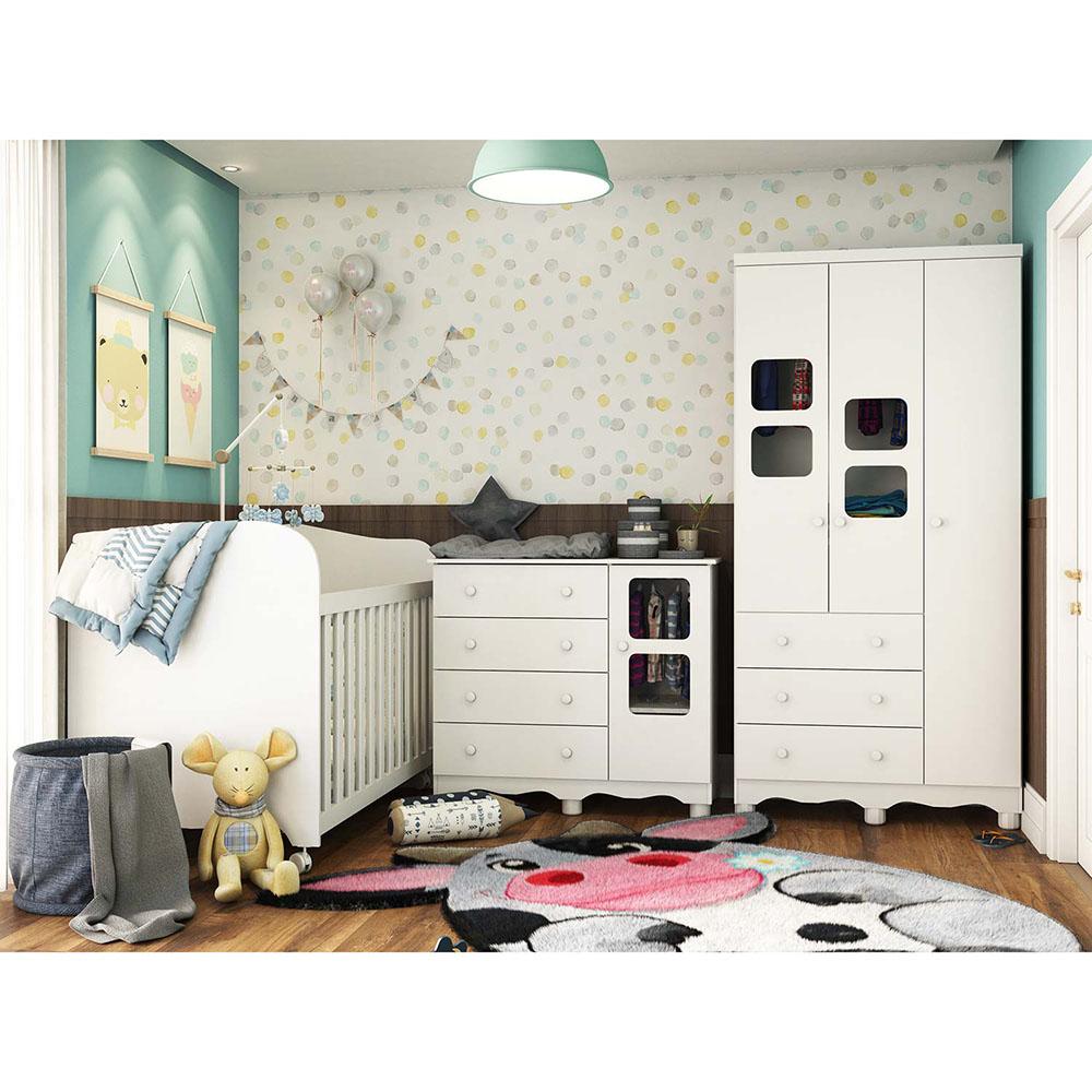 Quarto Bebê com Berço Americano Uli, Cômoda 4 gavetas e Guarda roupa 3 portas e 3 gavetas Móveis Peroba Branco