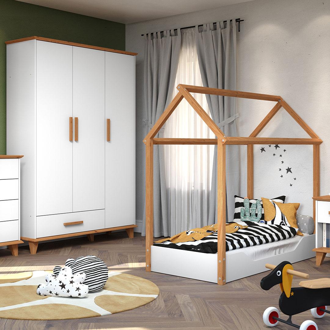 Quarto Infantil Candy com Mini Cama Montessoriana e Guarda Roupa 3 Portas Móveis Serpil Branco com Imbuia