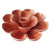 Adorno Flor Decorativa Ceramica Salmão DL0047