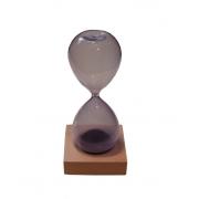 Ampulheta Decorativa Roxa com Base Madeira Magnética 55 Segundos 15cm Goods BR