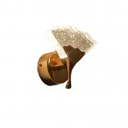 Arandela Cristal Bolha Dourado 15cm LED 7W 3200k Bivolt
