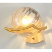 Arandela em Metal Dourado e Globo de Vidro Âmbar 1E14