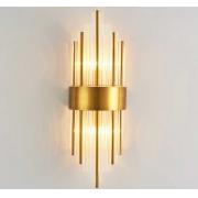 Arandela Moderna Metal Dourado e Cristal 2E14 59cm